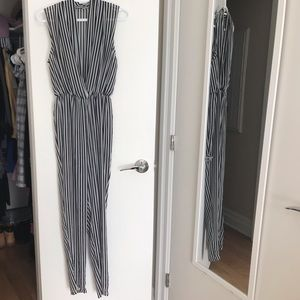 American Apparel sheer black&white stripe jumpsuit